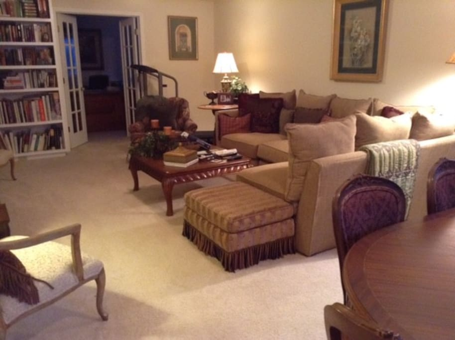 Family room with tv and dining