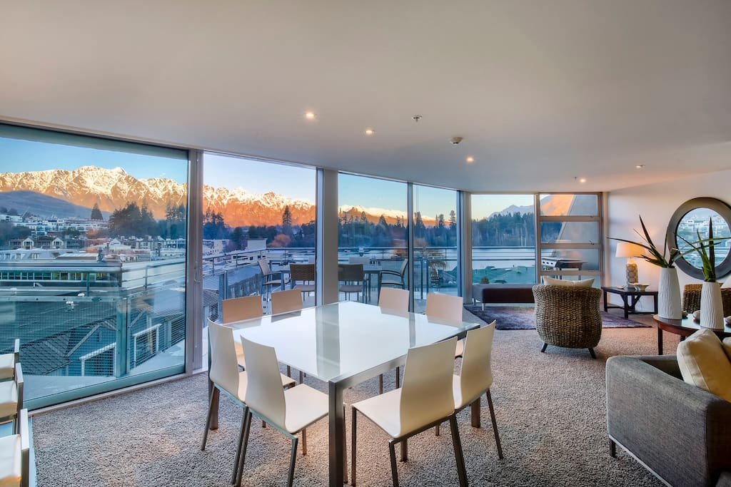 Living area with stunning views over the Remarkables