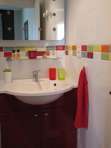 salle de douche colorée