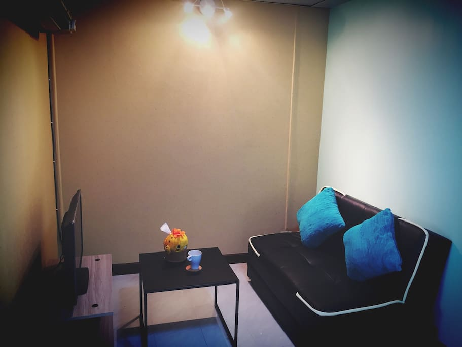 """The living room with 2 seats sofa-bed , LCD TV 32 """" , air condition!"""