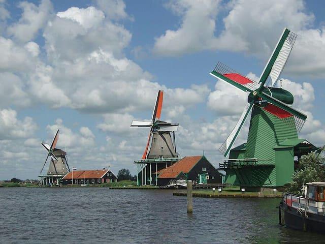Visit the windmills in Zaandam