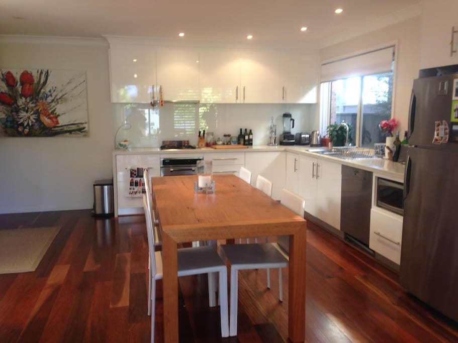 Large open plan fully equipped kitchen/dining room