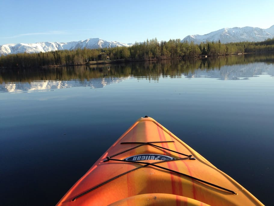 View of the lake from the kayak.