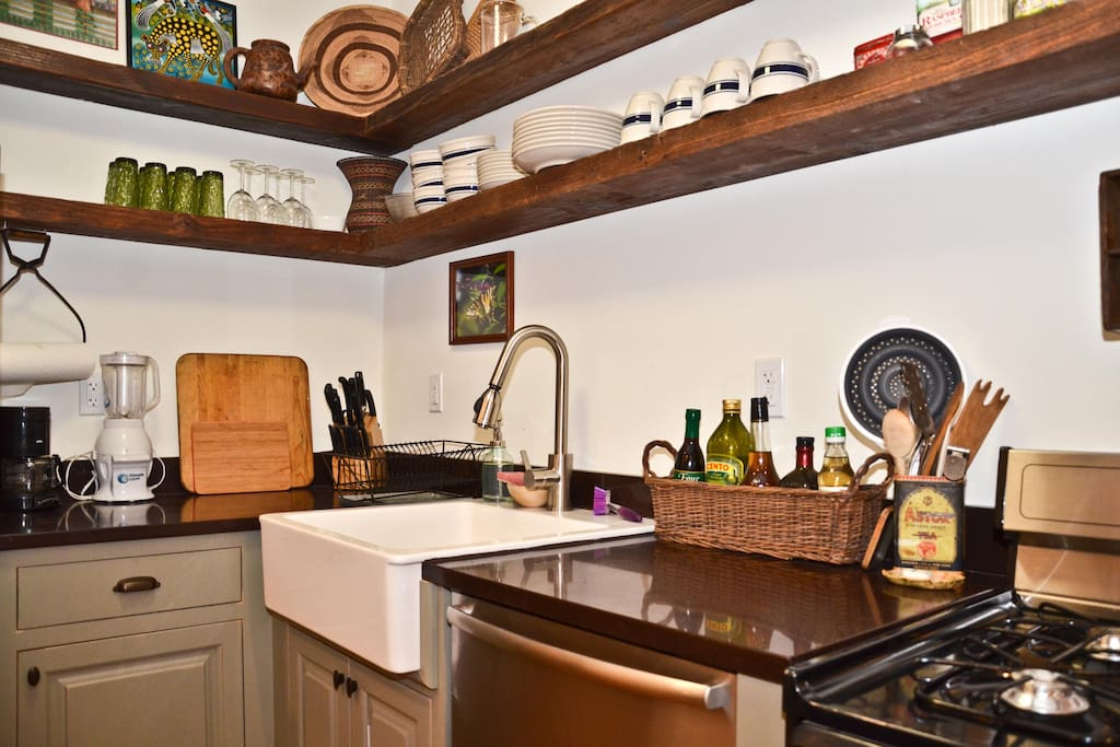 The kitchen comes with all new appliances and stocked full with cookware and utensils for your use