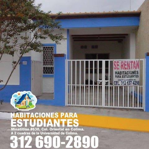 Habitaciones a 2 cuadras de la Univ. de Colima