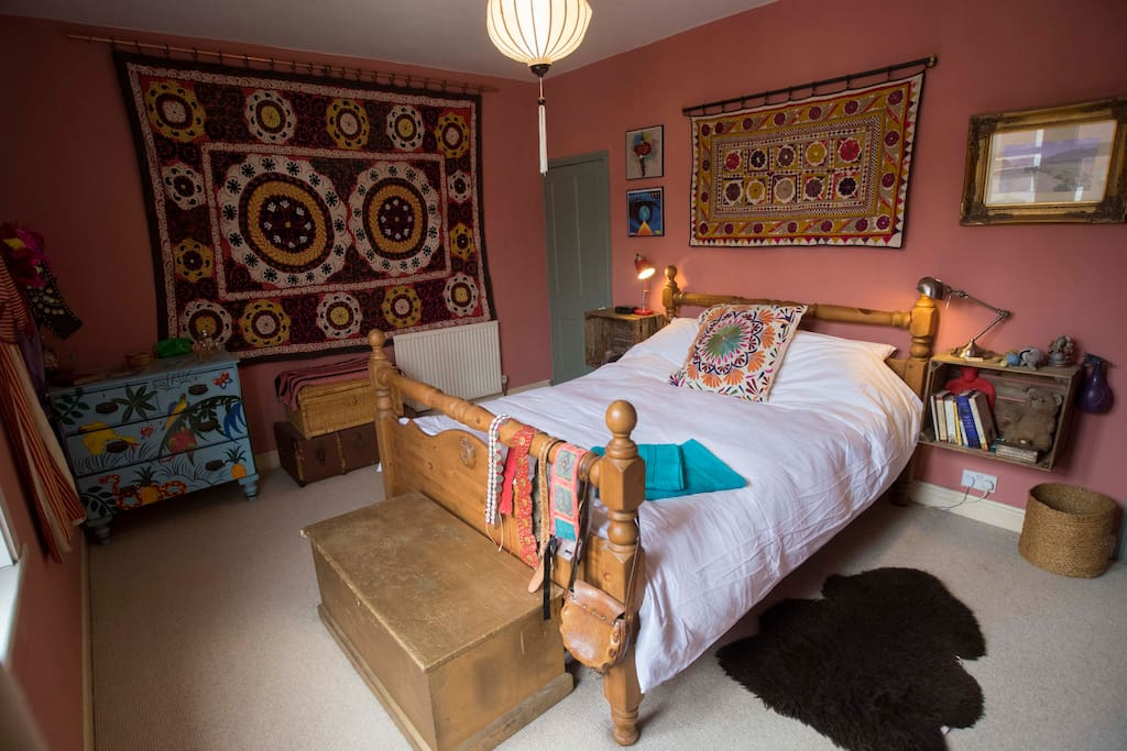 The main bedroom, with suzani wallhanging from Tajikistan.