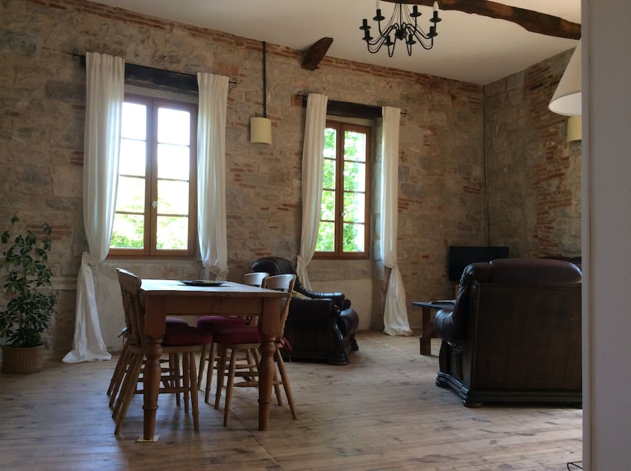 spacious, light living/dining room with views over village