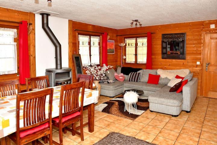 Salon avec coin cheminée et canapé-lit
