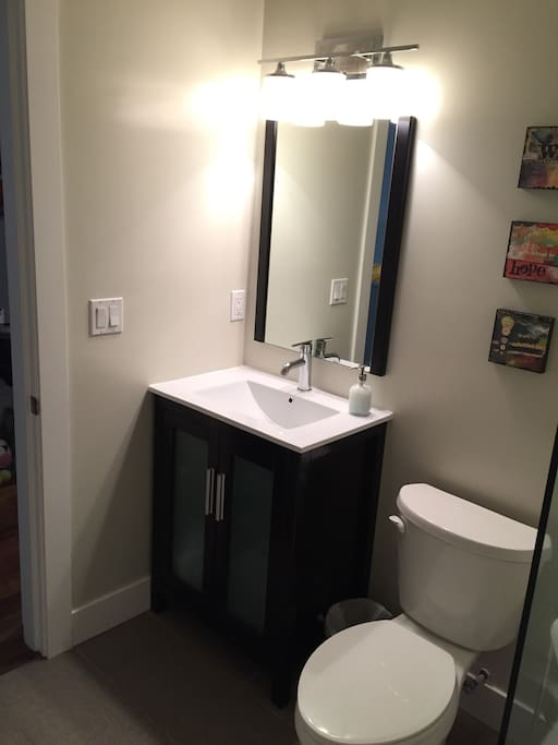 Bathroom to be shared between two rental rooms.