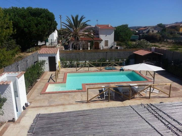 White and Blue mediterranean Villa