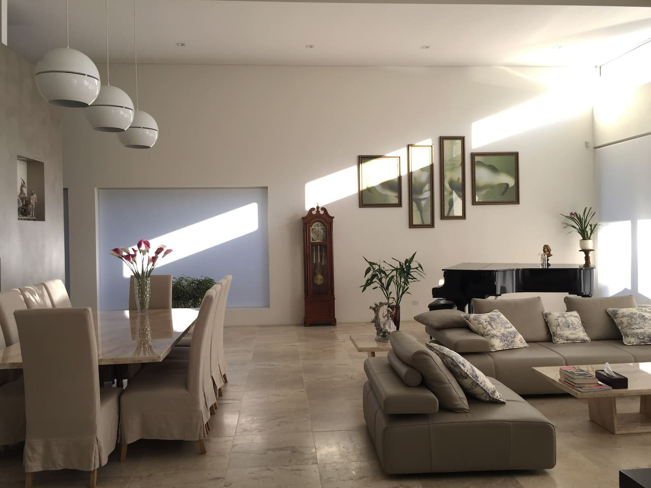 High ceiling lounge with whole day sun light