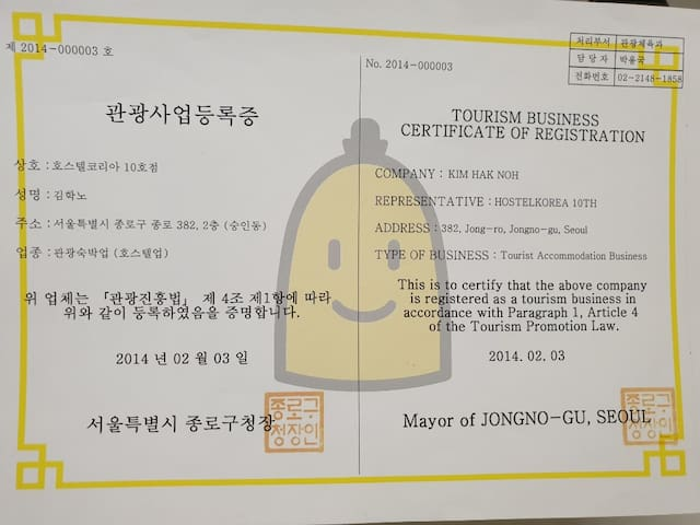 Certificate of business