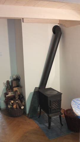 There is wood stove. (this is not for flat heating)