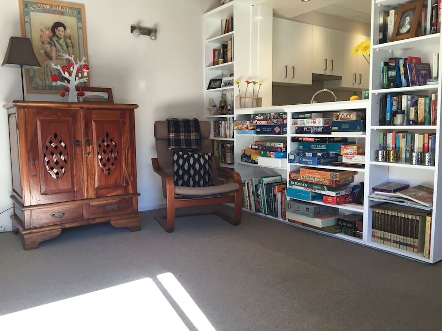 Lounge room-board games and bookshelf-day
