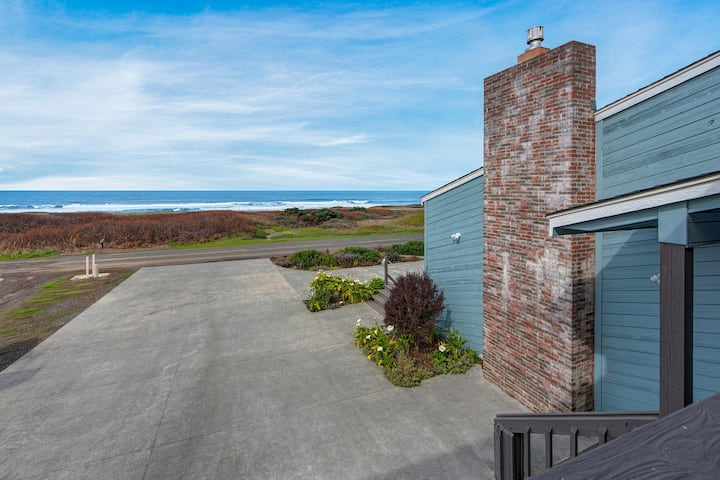 Dog-friendly, oceanfront studio w/ decks & kitchenette - steps to the beach!