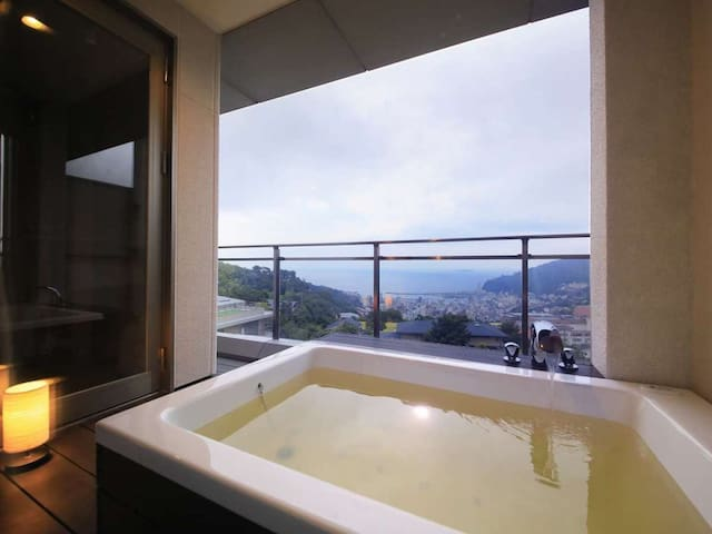 Free pick up from Kinomiya station! An outdoor bath in the room