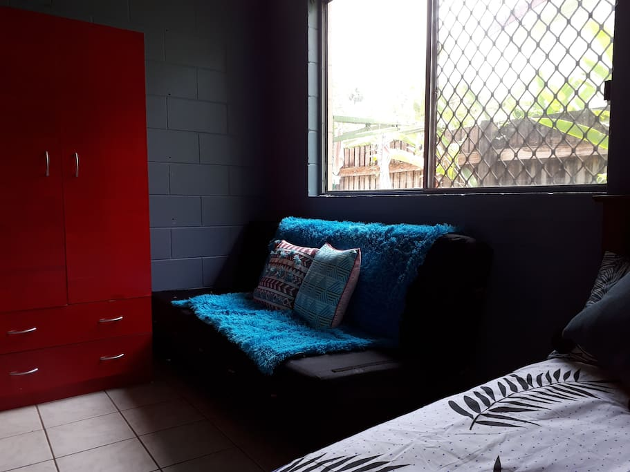 Wardrobe and fold down couch