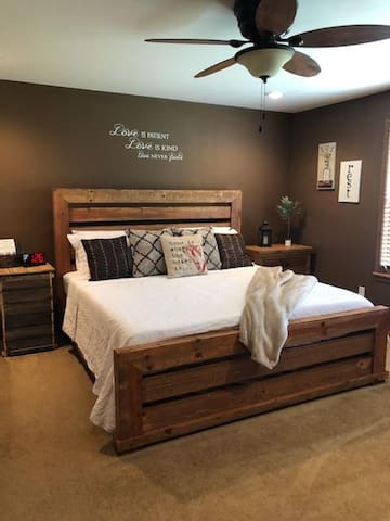 Master bedroom with comfy memory foam King bed