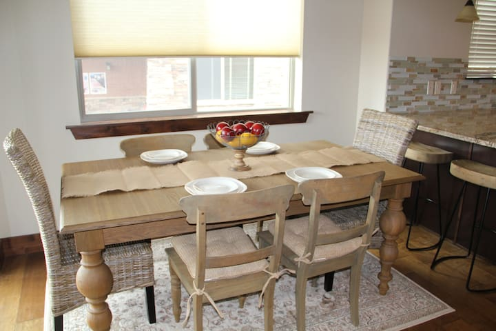 Dining Table.  Seating for at least 8 as it has an extension