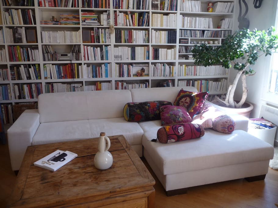 Livingroom on courtyard. double living room, bright, calm and spacious, providing a dining space (with table and 4 chairs) . Decorative fire place, comfortable sofa, and a huge library wall with music and cd