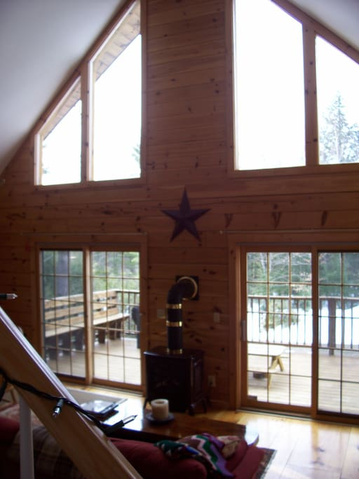 Light fills the living area of the Log Home.