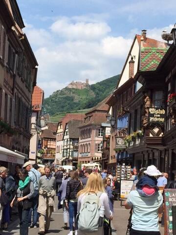 Ribeauvillé village typiquement alsacien avec vue sur les trois chateaux