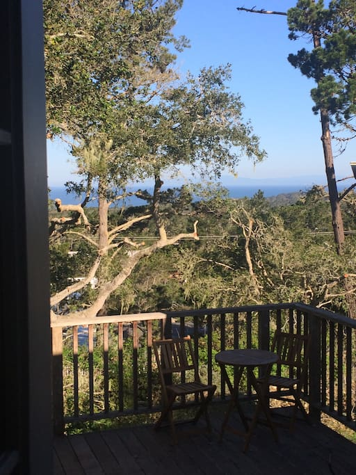 View out the back patio door to Asilomar Beach.