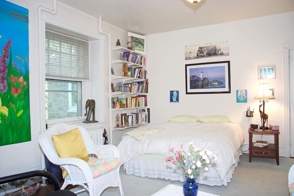 The guest room.- with a Queen size bed, fold out queen size futon couch, 2 chairs and dresser.