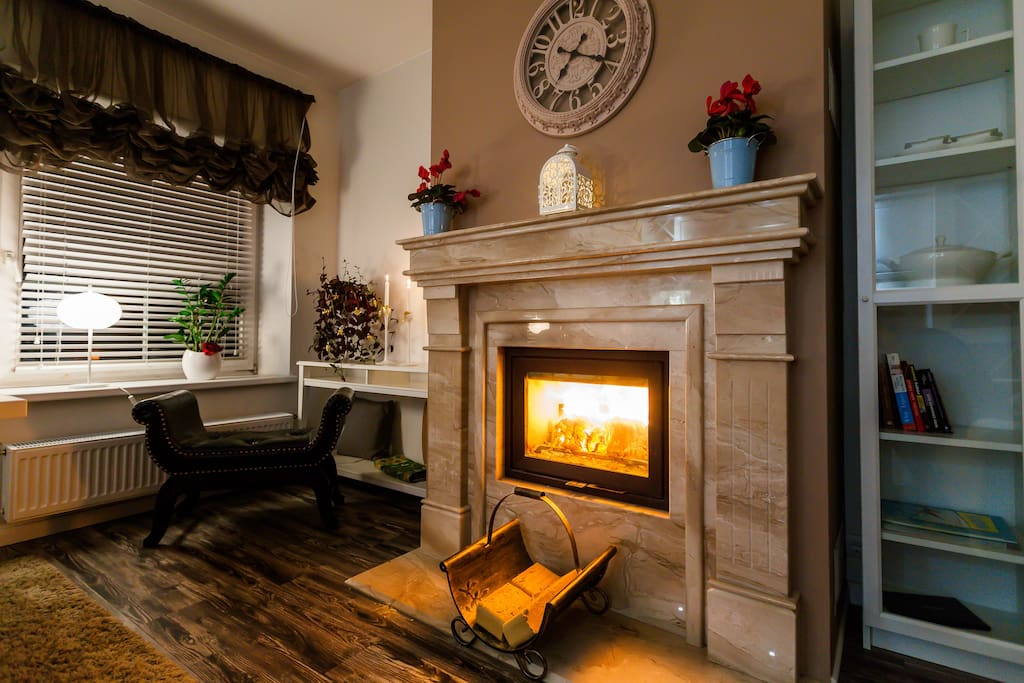 Natural marble fireplace (wood can be provided on request)