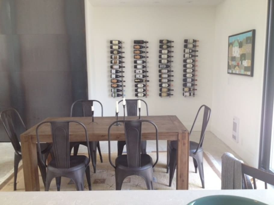 Dining space with wine wall