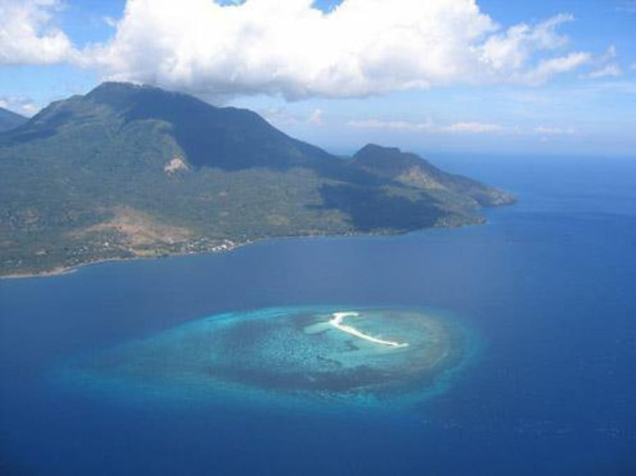 aerial view of Camiguin with White Island