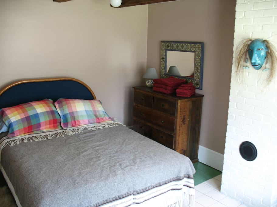 One bedroom, with good quality queen bed.