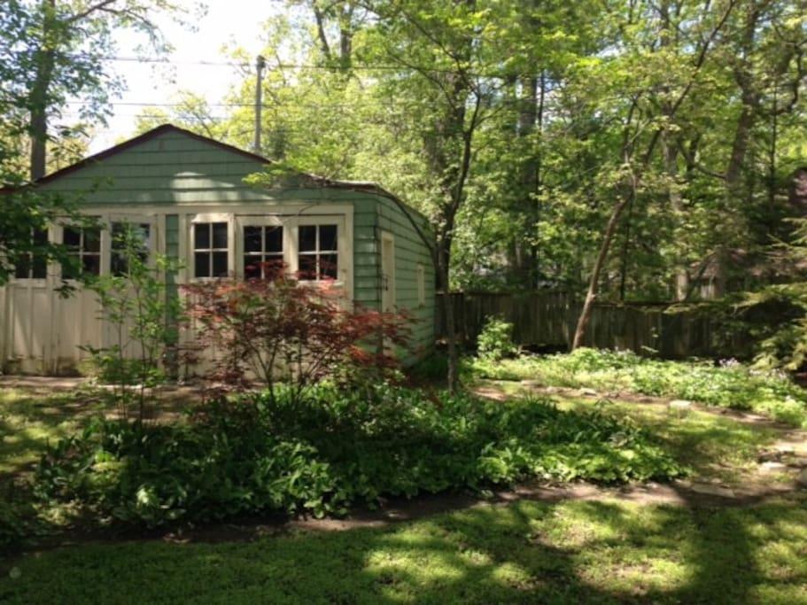 Backyard and garage
