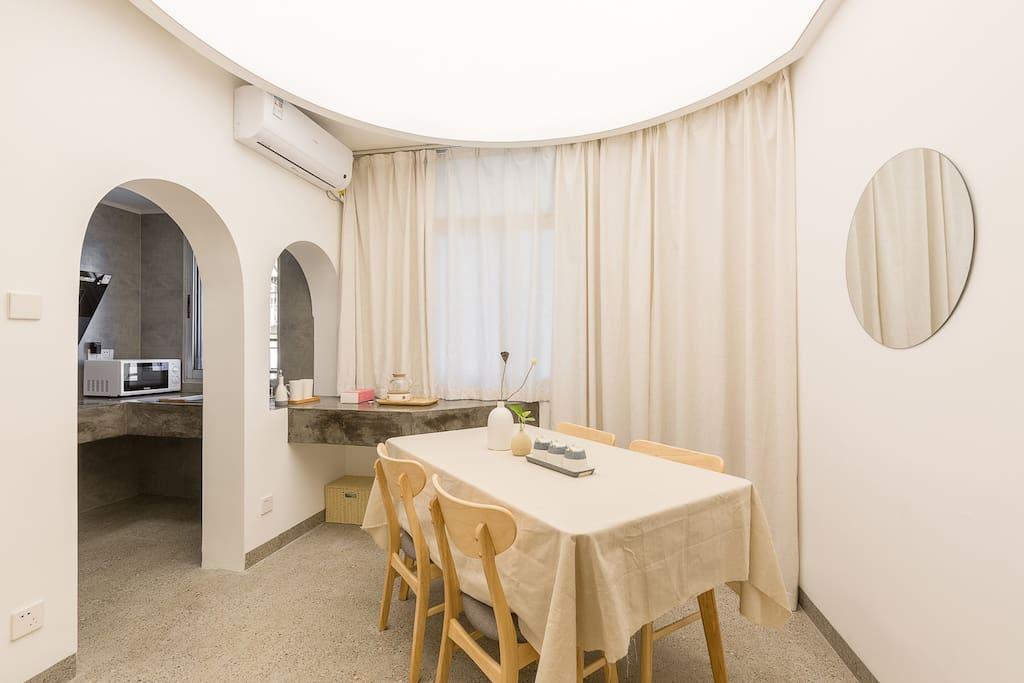 餐厅·茶室,神性天光,白净拱券,白净棉帘