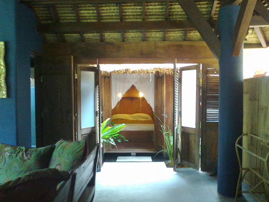 Downstairs bedroom with  fishpond