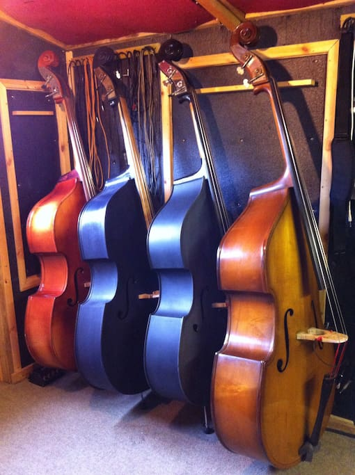 Some of my instruments in my small studio in the garden .