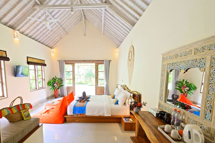 Our villa have a beanbag(except Alang alang villa). Pumpkin village villas are decorated with delicate decoration by the designer. You can feel the comforts of home and the specialties of your destination.