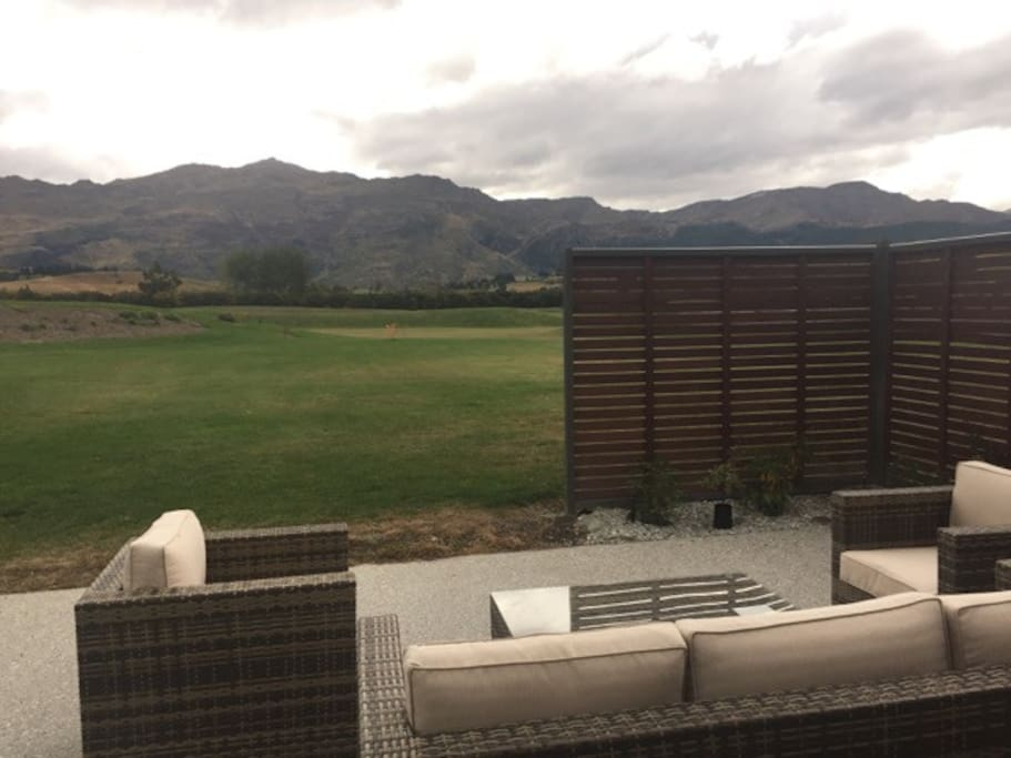 Private, tranquil outdoor area with Coronet Peak in background