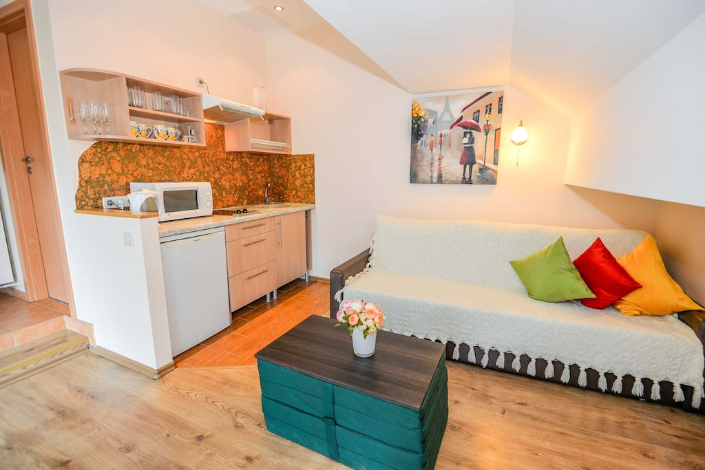 Quadruple apartment - living room, kitchen area