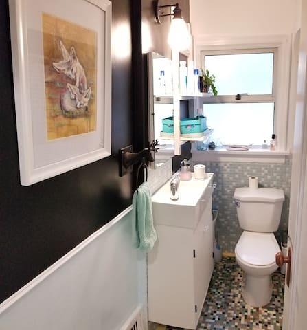 Mid century, tile extravaganza, Bathroom (nicknamed '50 Shades of Blue)