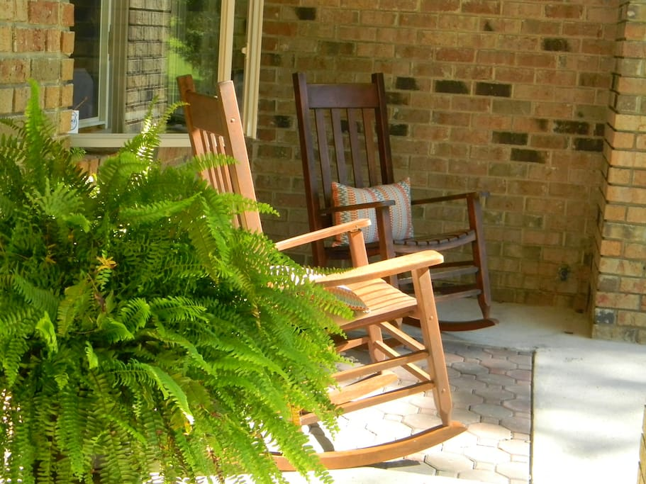 Rocking Chairs on Front Porch.  Go ahead...sit a bit, relax.