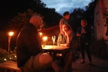 Guests enjoying an organised event on the terrace
