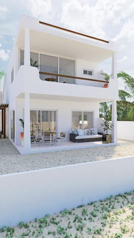 Quiet Brand New Beach Front Villa With Top Deck.
