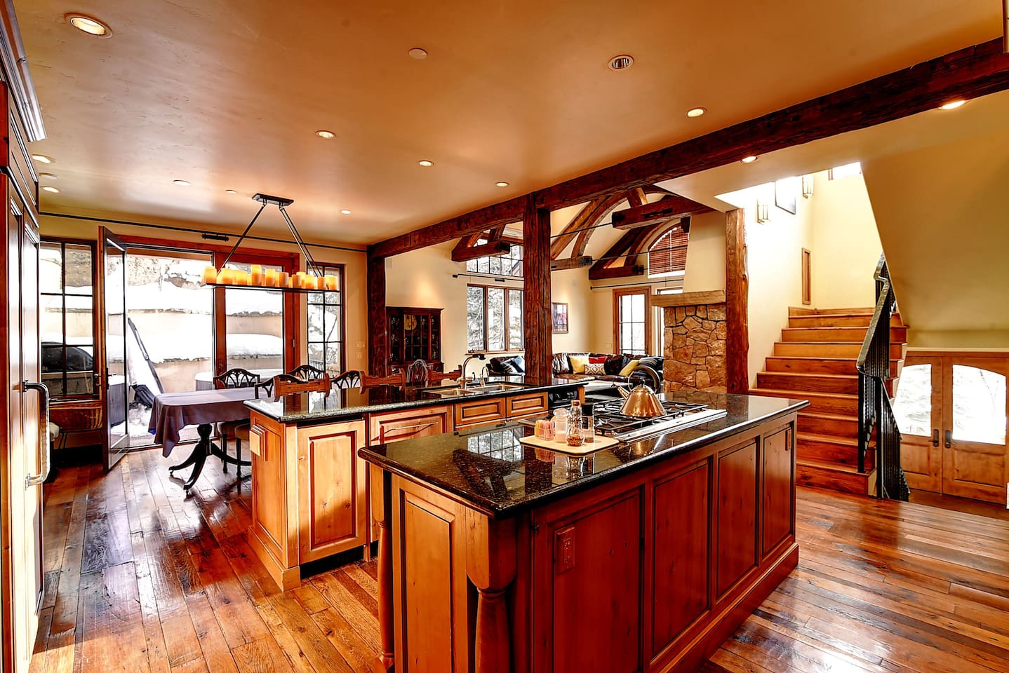 Open Kitchen, Dining & Living Rooms