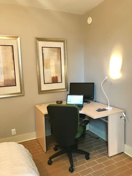 The bedroom has a great work space with 100 MBPS wifi available!