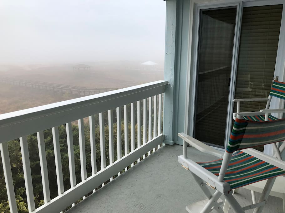 Balcony on a foggy day (sliding doors are to master bedroom)