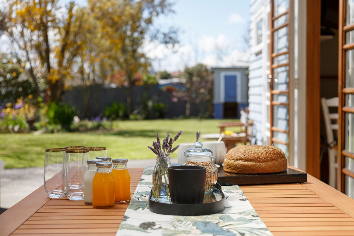 Have  your breakfast inside or outside. Enjoy the peace and the views from your covered courtyard.