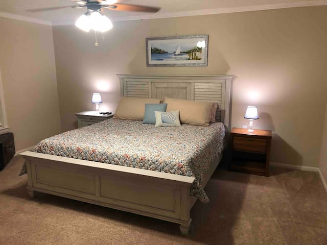 King size Master Bedroom. I recently put a king size adjustable bed in this room.