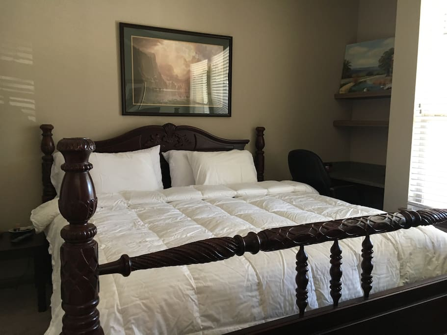 King size bed in master bedroom