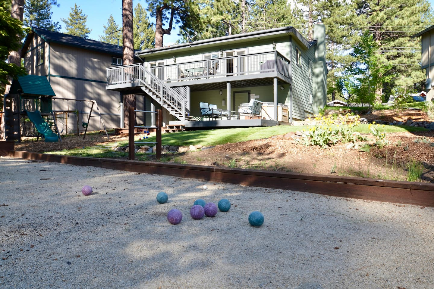 Enjoy a relaxing beverage while the kids entertain themselves on the swings, bocce ball or ladder ball.